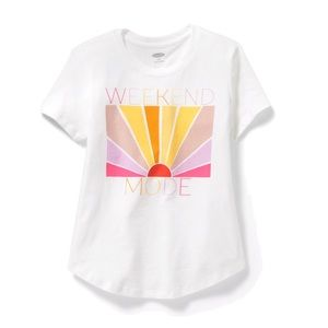 "NWT White ""Weekend Mode"" T-Shirt Top Size S(6-7)"